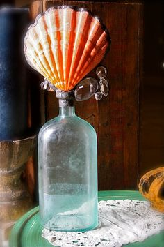 J'adore Vintage Aqua Glass Sea Bottle L'Orange Shell Sea Sculpture Solder Art Coastal Home Decor on Etsy, $130.00