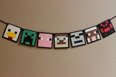 Minecraft inspired really cute banner, use as a room decoration or just for a party.