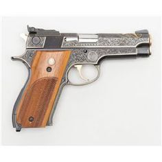 """Custom engraved and gold and silver inlaid Smith & Wesson Model 539 semi-auto pistol, 9mm cal., 4"""""""