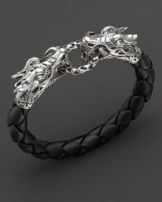 John Hardy Men's Naga Silver Black Woven Leather Dragon Bracelet | Bloomingdales's