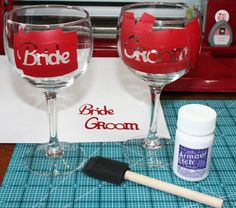 Glass etching with a Cricut. I don't have a Cricut, but I have an exacto blade :D. Though this bride/groom stuff isn't usually my style.