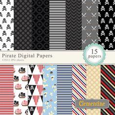 Pirate digital papers digital scrapbooking paper royalty