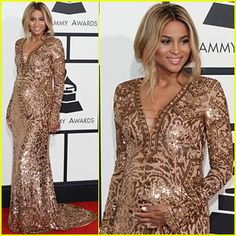 Ciara was such a stunning glamorous momma-to-be last night on the #Grammys #redcarpet!