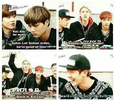 lol Exo showtime ep 7 hmm in Korea at a Chinese restaurant what language should I speak in . Chanyeol, Kyungsoo, Exo Showtime, Song Daehan, Exo Memes, Kdrama Memes, Xiuchen, Baekyeol, Reality Tv Shows