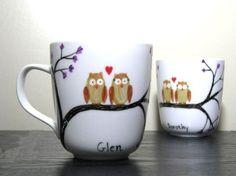 Hand-painted owl mugs - love!