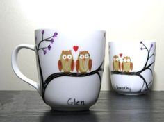 Hand-painted owl mugs - love!