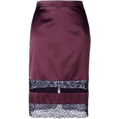 Givenchy lace panel pencil skirt (925 JOD) ❤ liked on Polyvore featuring skirts, red, purple pencil skirt, high waist skirt, red knee length skirt, knee length skirts and high waisted pencil skirt
