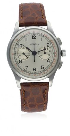 A GENTLEMAN'S STAINLESS STEEL LEMANIA CHRONOGRAPH WRIST : Lot 0197