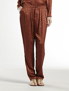 Gucci Leopard Jacquard Gathered Pants