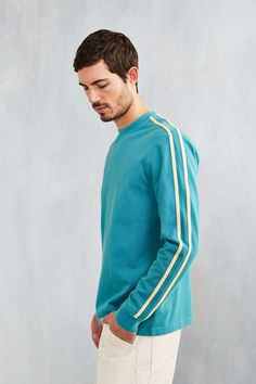 CPO Stripe Sleeve Pique Long-Sleeve Tee - Urban Outfitters
