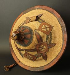 Africa | Hat from the Fulani people, collected in Ghana in the 1950s | Basketry and leather