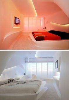 @HI-MACS Natural Acrylic Stone 3D #Wall Surface by LG Hausys Europe at Hotel Puerta America, #Madrid, #Spain #bedroom