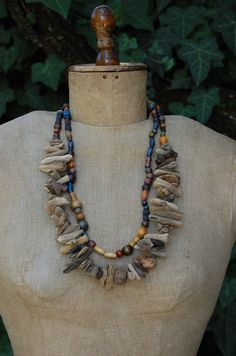 Driftwood and wooden beads necklace by luushes on Etsy