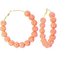 3 Inch Sun Kissed Orange Sparkle Ball Hoop Earrings