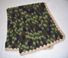 Camouflage Crocheted Baby Blanket or Lap Blanket  by Bonbonsandmore on Etsy