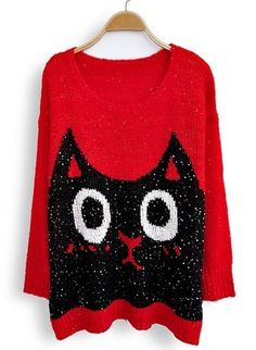Red Long Sleeve Sequined Cat Print Loose Sweater