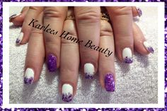 Acrylic nails with @Chad Prevost Color lacquers and 3D range.  Glitter fade art over white polish with purple glittery feature nail