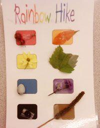 Rainbow Hike Card - more scavenger hunt ideas