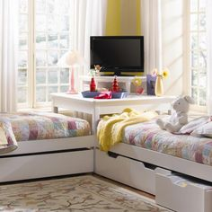 Twin beds. Great space saving idea for a shared bedroom. I like this much better than bunk beds!