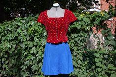2 piece set  German bavarian top and skater skirt by WooWhoVintage