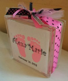 glass block light for baby girl by DesignsbyMirandaM on Etsy