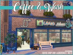 Coffee & Wash by Akisima for The Sims 4 Sims 4 House Building, Sims House Plans, The Sims 4 Lots, Gamer Tags, Sims 4 House Design, Sims 4 Mm, The Sims 4 Download, Sims 4 Build, Sims Community