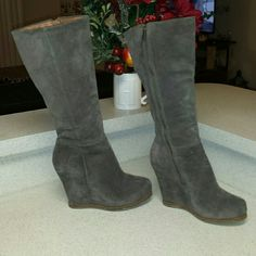 Lucky Brand suede boots Light brownish wedge suede boots. Only worn a few times. Almost like new! 8-8.5 Lucky Brand Shoes Heeled Boots