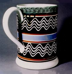 """Jonathan Rickard, """"Mocha and Related Dipped Wares, 1770-1939."""" Mocha with trailing slip, achieved by blowing into a """"blowing bottle"""" affixed with goose quills through which the thick, fluid slip would flow out and onto the vessel's surface while turning on a lathe."""