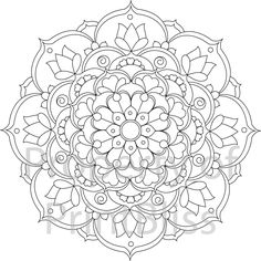 24. Flower Mandala printable coloring page. by PrintBliss on Etsy