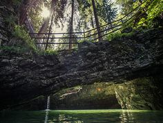 Great stop on a hike along Schwarzwasserbach river:  Naturbrücke, natural stone bridge in Kleinwalsertal - Vorarlberg - Austria