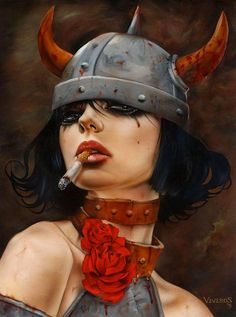 Brian Viveros, a mix of oil, airbrush, acrylic, and ink