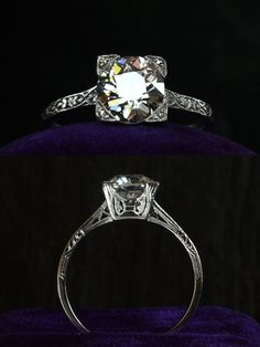 1920s Art Deco 1.38ct European Cut Diamond (G/H SI1) RingPlatinum Filigree, Single Cut Diamonds, $11750  Quite a spectacular ring. One of my favorite, but rare to find, features of Art Deco engagement rings are diamond-set prongs. If you look closely, each of the four corner prongs is punctuated with a little single cut diamond.