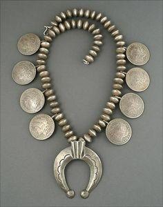 Silver Coin Squash Blossom Necklace, circa 1960's (Navajo)