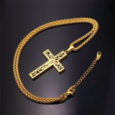 Necklace With Gold Plated Hollow Cross Pendant.  Features: 100% Brand new, high quality and a MUST HAVE! The quality is very good, it is experienced precision