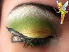 Tinkerbell inspired green and yellow makeup - #tinkerbell #makeup #eyeshadow
