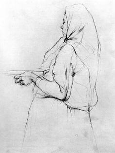 Nicolai Ivanovich Fechin (1881-1955) . Charcoal, 1930-1940 . 42.5x34 cm 308155_4187239391965_303927705_n.jpg 720×960 pixels