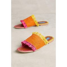 Proud Mary Raffia Fringe Slide Sandals ($138) ❤ liked on Polyvore featuring shoes, sandals, yellow motif, fringe sandals, fringe shoes, raffia shoes, raffia sandals and yellow shoes