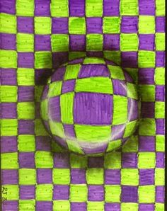 Great example for our up-coming Op Art lessons 3rd Grade Art Lesson, 4th Grade Art, Op Art Lessons, Art Lessons Elementary, Illusion Kunst, Illusion Art, Opt Art, Classe D'art, Ecole Art