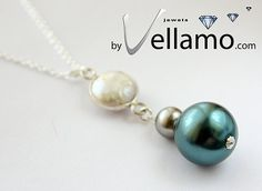 Sterling silver necklace with pendant with Swarovski pearls by byVellamo, $17.00