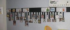 """L'idée étant de dérouler la mémoire de la classe au fil de l'année scolaire , d'afficher ce qui est """"passé"""", ce qui a été fait, etc. sous forme de photos: anniversaires, sorties, spectacles, albums lus, événements ponctuels... Tout ce qui semble parlant en terme de mémoire commune. La bande supérieure sert pour les repères temporels (mois, saisons)"""