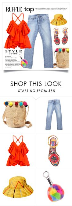 """Ruffle Top & Pom Poms"" by conch-lady ❤ liked on Polyvore featuring Muzungu Sisters, Tom Ford, Jean-Paul Gaultier, Dolce&Gabbana, Retrò, Belle Fare, ruffledtop and ruffledtopandpompoms"