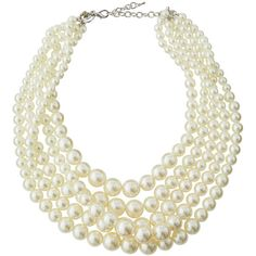 Greenbeads By Emily & Ashley Five-Strand Pearly Statement Necklace ($53) ❤ liked on Polyvore featuring jewelry, necklaces, pearl, graduation necklace, pearl charm, lobster claw charms, white pearl necklace and layered pearl necklace