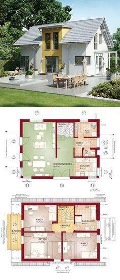 Klassische Einfamilienhaus- Architektur mit Satteldach - Haus Grundriss Evolution 122 V7 Bien Zenker Fertighaus - HausbauDirekt.de