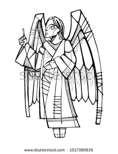 Hand drawn vector ink illustration or drawing of an angel
