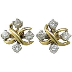 Tiffany & Co. Schlumberger Lynn Diamond Gold Platinum Stud Earrings. 18k gold and platinum earrings by Jean Schlumberger for Tiffany & Co from current Lynn collection. 21st century