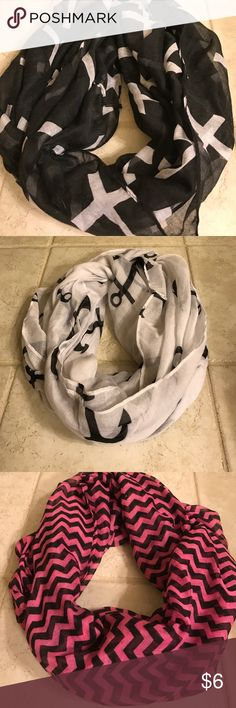 Set of 3 different Infinity scarves Bundle of infinity scarves Accessories Scarves & Wraps