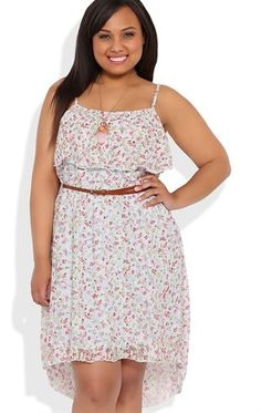 Plus Size Ditsy Floral Lace High Low Dress with Ruffle Neckline
