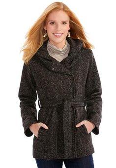 8b926ef61 Cato Fashions Hooded 2-Way Fleece Trench Coat-Plus  CatoFashions 2 Way