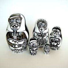 Day of the Dead Nesting Dolls Hand Painted Black and  White by sewZinski