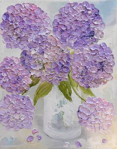 "Fresh Lavender Hydrangea's Oil Painting, "" Shabby Chic Mixed Hydrangeas "" ,Palette Knife Impasto Painting Fresh Lavender Hydrangea's Oil Painting. Hydrangea Painting, Oil Painting Flowers, Yellow Painting, Painting Trees, Oil Painting Texture, Oil Painting Abstract, Circle Canvas, Simple Acrylic Paintings, Simple Oil Painting"